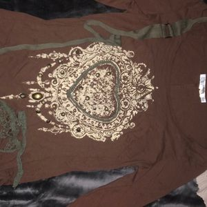 Brown and Olive green long sleeve boutique top